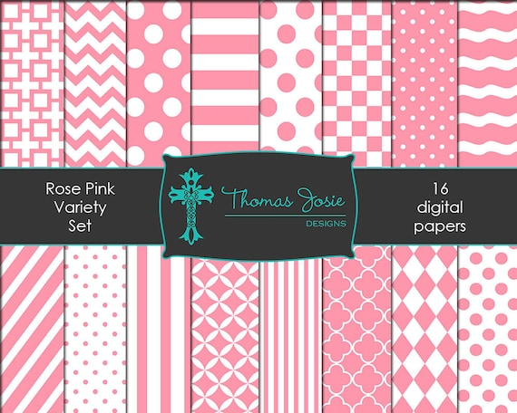 Rose Pink Digital Paper Backgrounds Striped Digital Polka Dot Digital Chevron Digital Quatrefoil Pattern Papers 8.5 x 11 - Instant Download
