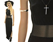 RESERVED 90s Mesh Cutout Maxi Dress Black Velvet Grunge Goth M/L SALE Final Markdown