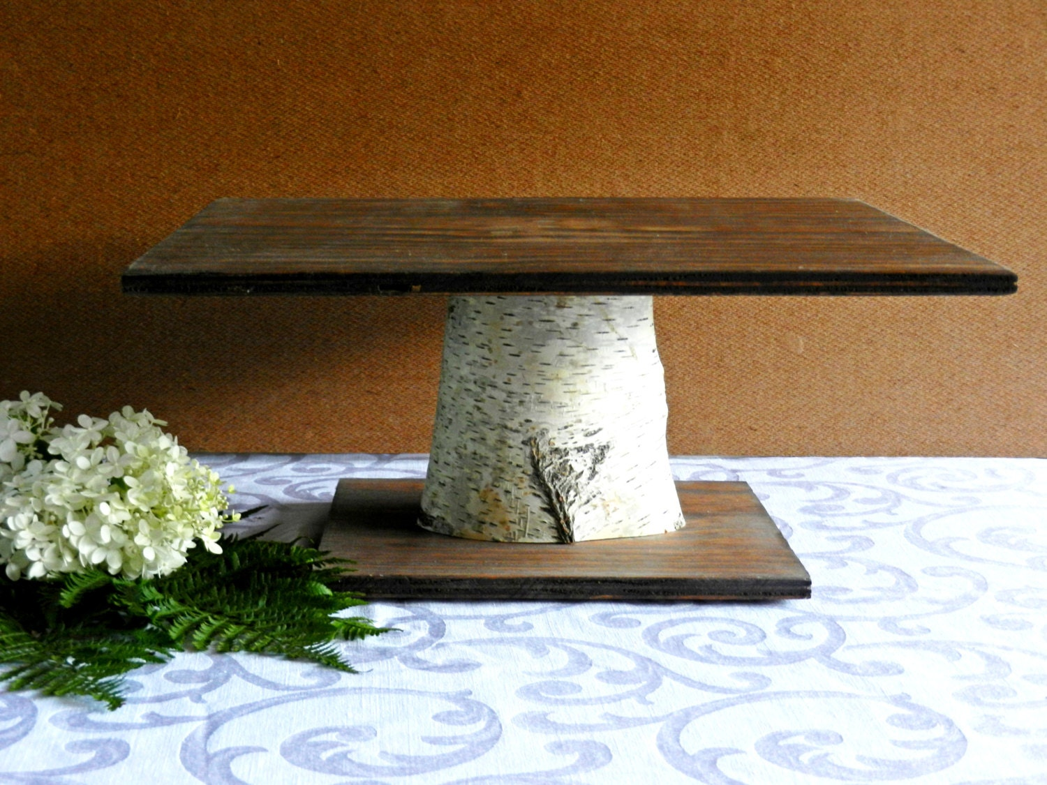 Birch Square 16 Cake Stand Rustic Woodland Wedding by