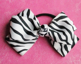 Black and White Zebra Stacked Hair bow- 5 inches