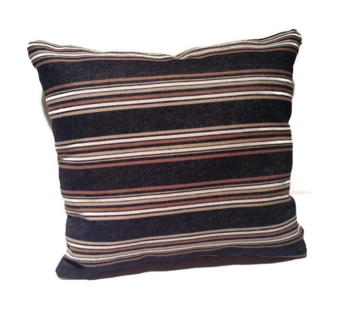 Decorative Denim Pillows : Decorative throw pillow black denim brown stripes by Thrillows
