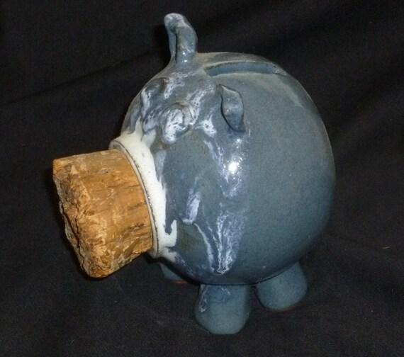 Piggy bank pottery stoneware handmade wheelthrown with for Handmade coin bank