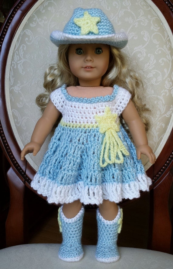 items similar to crocheted american girl 18quot doll cowgirl