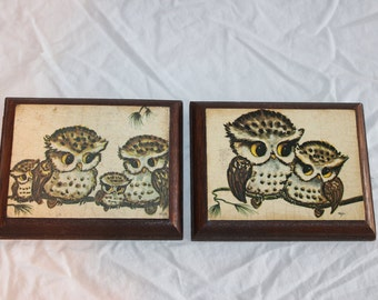 Set of 2 vintage owl wood plaque wall decorations by artist Thayer