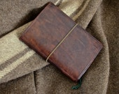 Handmade Bison Brown Leather Expedition Notebook