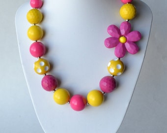 Pink & Yellow CHUNKY necklace with acrylic beads, tiger tail stringing, and metal toggle clasp