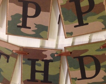 Camo Happy Birthday Banner Bunting Sign Garland Army Military Theme Hunter Outdoorsman