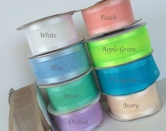 2 yds,Organza ribbon,fabric ribbon,satin edge ribbon,embellish ribbon,ribbon for bows,gift wrap ribbon,wedding ribbon,ribbon by the yard.