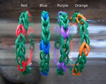 Dark Green with Red, Blue, Purple & Orange Rubber Band Bracelets Party Favor Pack