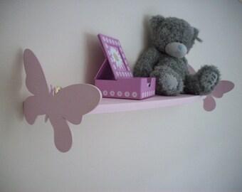 Wooden Butterfly shelf, childrens bedroom, nursery, pink,blue, white,cream, storage shelf