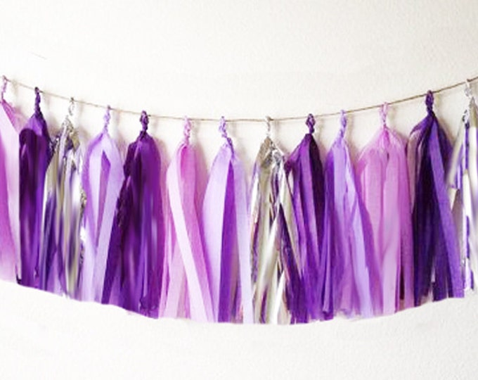 Tissue tassel garland in purple, lilac, pink, and metallic silver | Tissue paper tassel | Birthday | Wedding | Baby shower