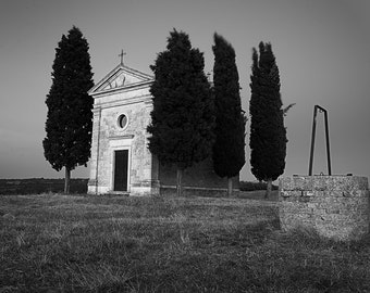 Vitaleta's Chapel, Tuscan Landscape, Tuscany, Italy, Cypress Trees, Rustic Well, Church, Val d'Orcia - Travel Photography, Print, Wall Art
