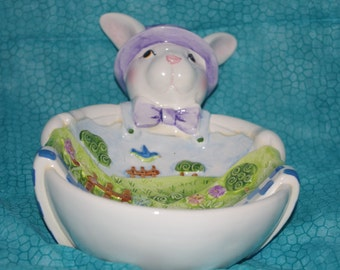Vintage Ceramic Easter Bunny Candy Dish