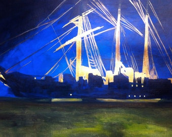 """Paint contemporary seascape on paper """"Night anchor"""