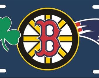 Custom License Plate Boston sports teams combined logo Celtics Bruins Red Sox Patriots