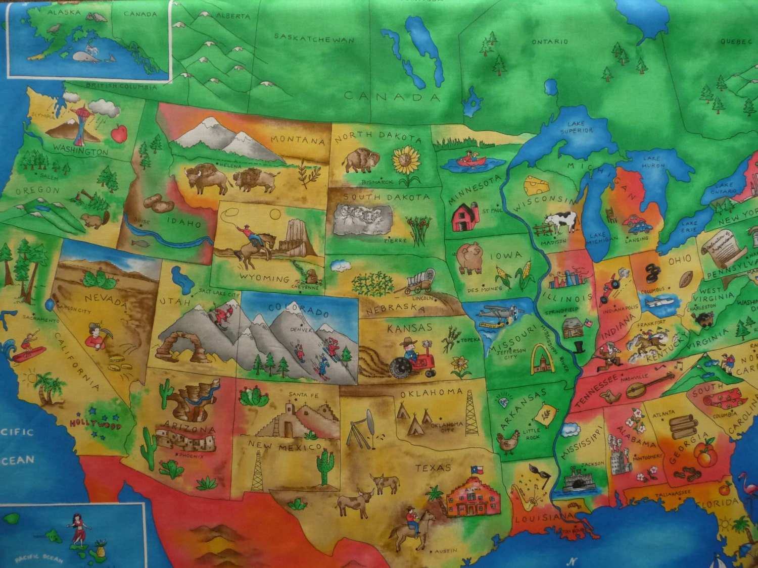United States Road Map Fabric
