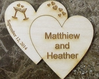 Save The Date Wedding Wooden Magnet - 100 Custom Rustic Wedding Wood - Double Heart - Laser Wedding Magnet Favor Personalized engraved