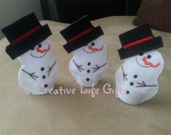 Snowman Flameless Tealight Cover - Holiday/Teacher Gift/Stocking Stuffer - Embroidered