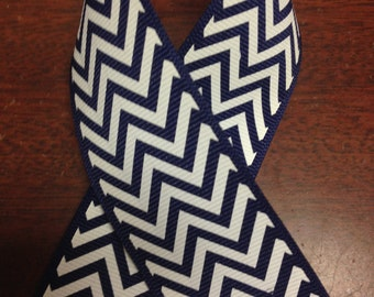 "1.5"" Chevron Grosgrain - Offray - LT Navy and White Chevron Striped Ribbon - 25 Yds Trendy -Great for Gift Wrapping, Decorating & Hair Bows!"