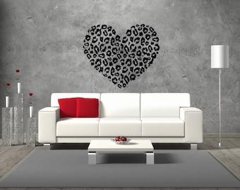 Cheetah Print Wall Decal, Heart Wall Decal, Bedroom Wall Decal, Living Room  Wall