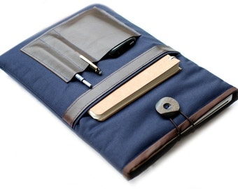 """Canvas Notebooktasche13 """"+ leather tray blue"""