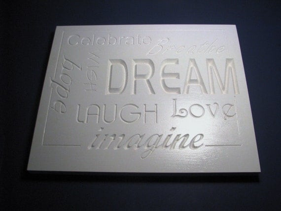 word wall art home decor in white with carved