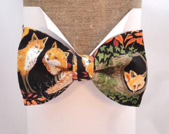 """Fox print on black cotton self tie or pre tied bow tie, will fit neck size up to 20"""" (50cms)"""