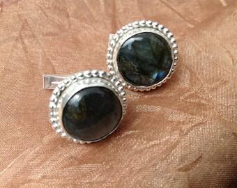 Laboradorite and sterling silver cuff links