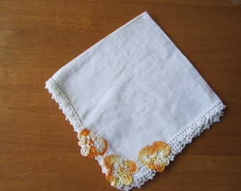 Vintage handkerchief crochet pansies and scalloped edges