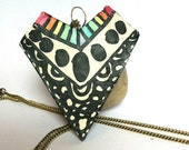 Rainbow Statement Necklace- Geometric Triangle Pendant Tribal Print Hippie Jewelry Zen Trippy Psychedelic Colorful