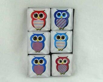 Set of Six Magnets Adorable Owls
