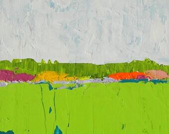 "Deana Fulton, original signed acrylic abstract landscape painting on 2"" deep Clayboard. ""Spring I"" Azaleas in Field. 140503-1"