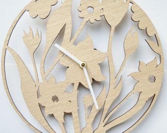 Floral Design clock, Laser cut clock, wooden clock