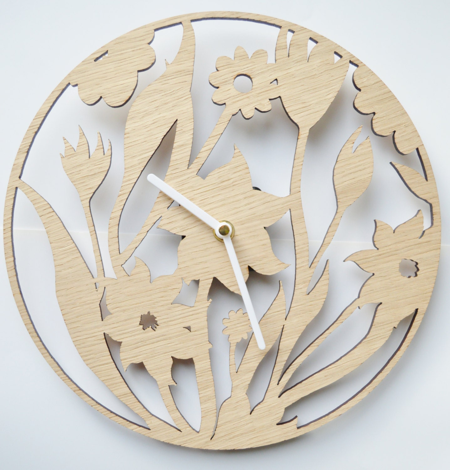 Wall Clock Designs In Wood : Floral design clock laser cut wooden
