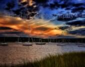 Sunset Photography, Sailboats, Nautical, Nature Photo, Landscape, Colorful Sky