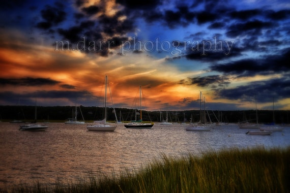 Sunset Photography, Sailboats, Nautical, Nature Photo, Landscape, Colorful Sky