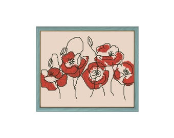 Poppies cross stitch pattern with thread codes