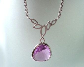 Lariat Necklace. Purple Necklace. Leaf Lariat Necklace. Purple and Silver Necklace. Stone Necklace Bridal. Bridal, Bridesmaids Gift