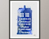 Dr Who Quotes 2 Tardis Watercolor Painting Print Archival Fine Art Print FAN art Wall Art Wall Decor Art Home Decor Wall Hanging No 125