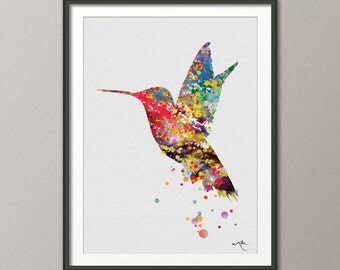 hummingbird watercolor illustrations art print wedding gift wall art poster giclee wall decor art home decor wall hanging no 42