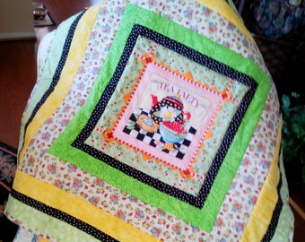 Mary Engelbreit Tea Party Quilt or Wall Hanging, Table Topper