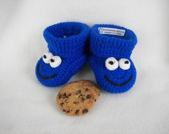 Crochet Pattern, Baby Booties, Cookie Monster, Instant Download Size 0-6 Months