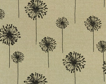 "Premier Prints  fabric-Dandelion-Black denton -54"" wide-1 yard or more decorator fabric FAST SHIPPING"