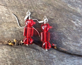 Glass bead red wrapped candy lolly look-a-like earrings on surgical steel hooks