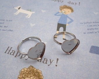 SALE--50 pcs- Silver Ring Base Adjustable with 15X15mm Heart Pad