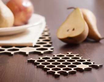 Bamboo Honeycomb Coasters with donation to honeybee charity - set of 4