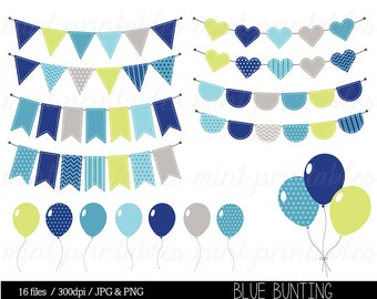 Bunting Clipart, Birthday Clipart, Bunting Clip Art, Boy Birthday, Balloons, Party invitation - Commercial & Personal - BUY 2 GET 1 FREE!
