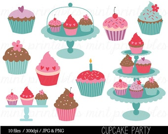 Cupcake Clipart, Cupcake Clip Art, Birthday Clipart, Birthday Clipart, Invitation, Cup Cake - Commercial & Personal - BUY 2 GET 1 FREE!