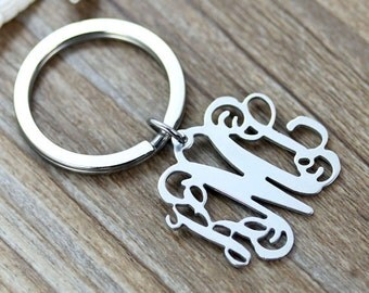 Personalized monogram keychain,silver name keychain, 3 initial nameplate,monogrammed jewelry