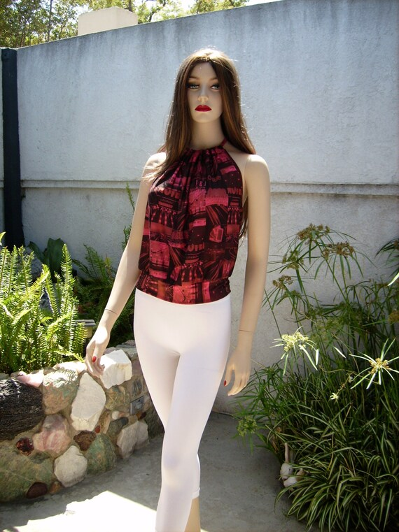 Red Halter Top Summer Women Beach Sleeveless Top By Girlishgirl-1330